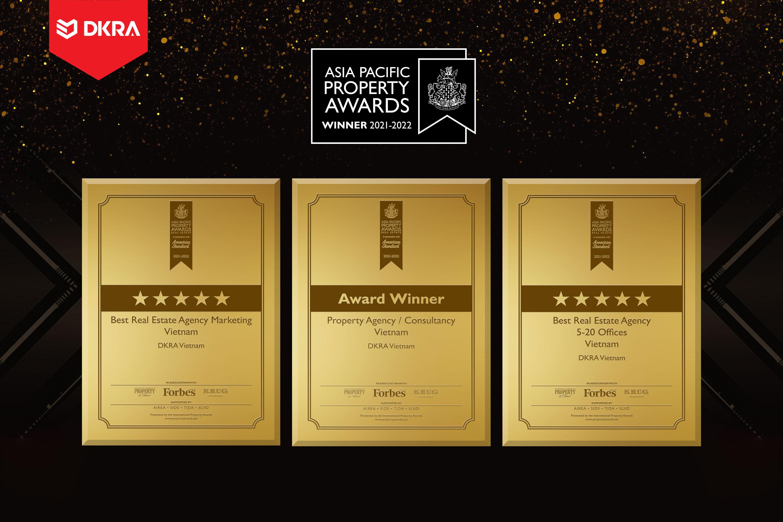 """DKRA Vietnam ''Hat-trick'' giải thưởng """"Đơn vị tư vấn dịch vụ BĐS thương mại tốt nhất Việt Nam"""", """"Hệ thống phân phối BĐS xuất sắc nhất Việt Nam, """"Đơn vị tư vấn tiếp thị BĐS tốt nhất Việt Nam"""" tại Asia Pacific Property Awards năm 2021"""