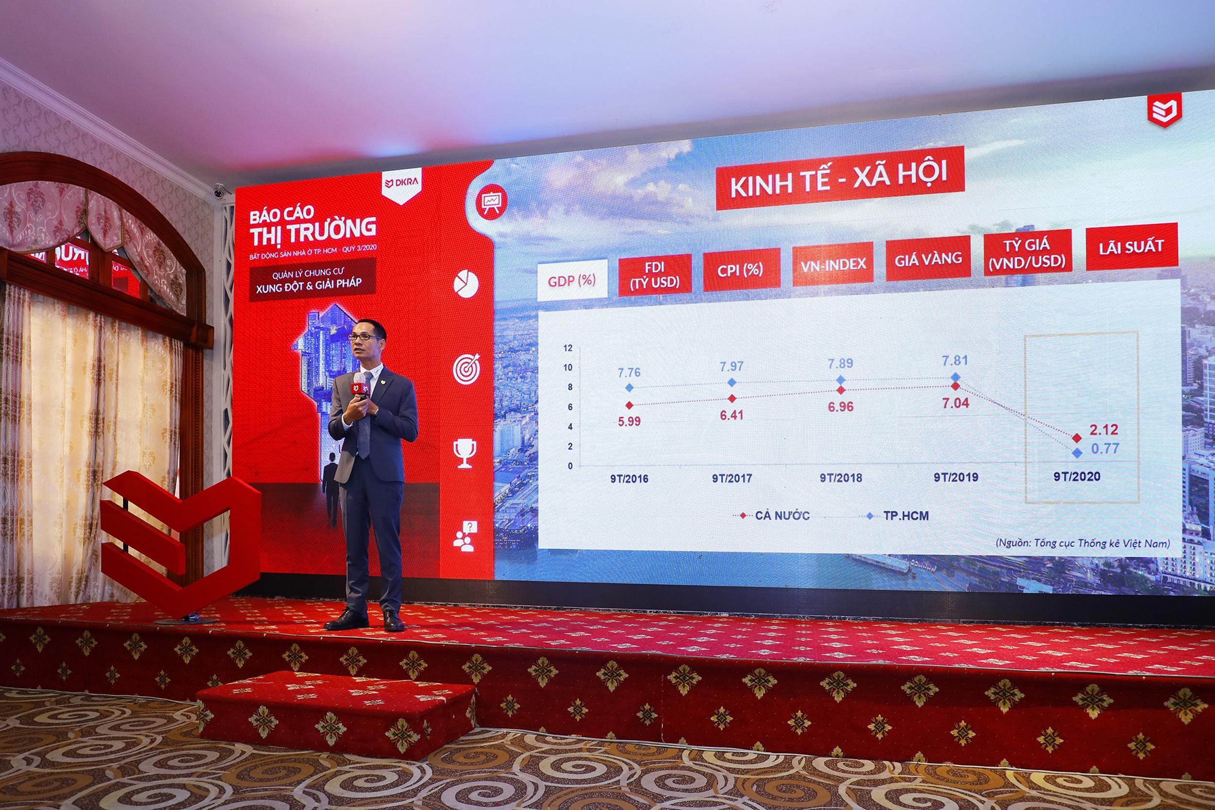 Ông Nguyễn Hoàng - Giám đốc R&D DKRA Vietnam trình bày diễn biến thị trường bất động sản Quý III, đồng thời dự đoán tình hình thị trường bất động sản 3 tháng cuối năm.